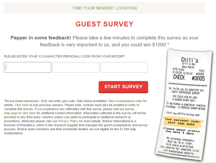 Enter the code from your receipt on the Chilis-Survey.