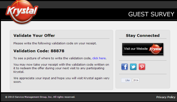 Redeem your prize from the Krystal Guest Survey.