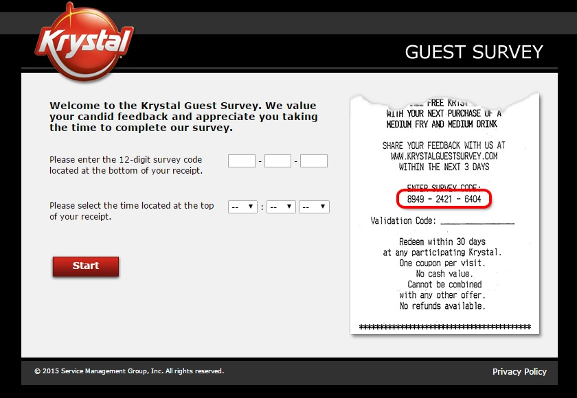 Krystal Guest Survey Completion Guide
