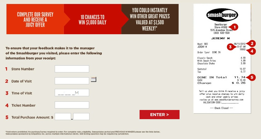 All the information you need for the Smashburger Survey is written on your receipt.