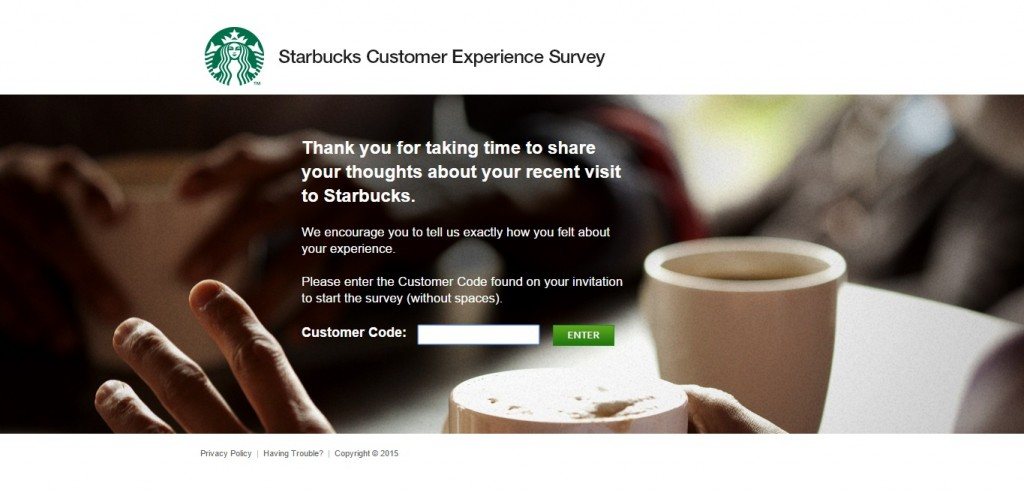 The code required for the MyStarbucksVisit Survey can be found on your receipt.