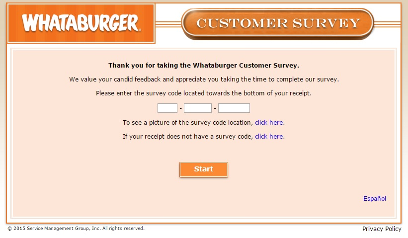 The code needed for the WhatABurger Survey is on your receipt.
