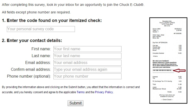 There are several steps you must take as shown in the Chuck E Cheese survey completion guide.