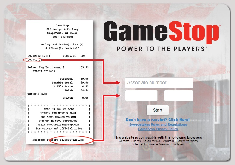 The TellGameStop survey completion guide also provides information about the receipt.