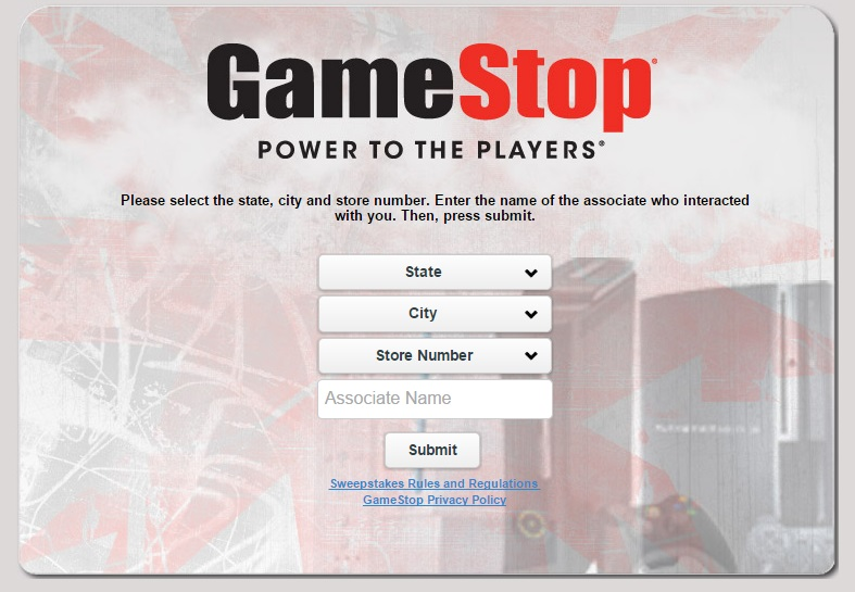 The GameStop survey can also be completed without a receipt.