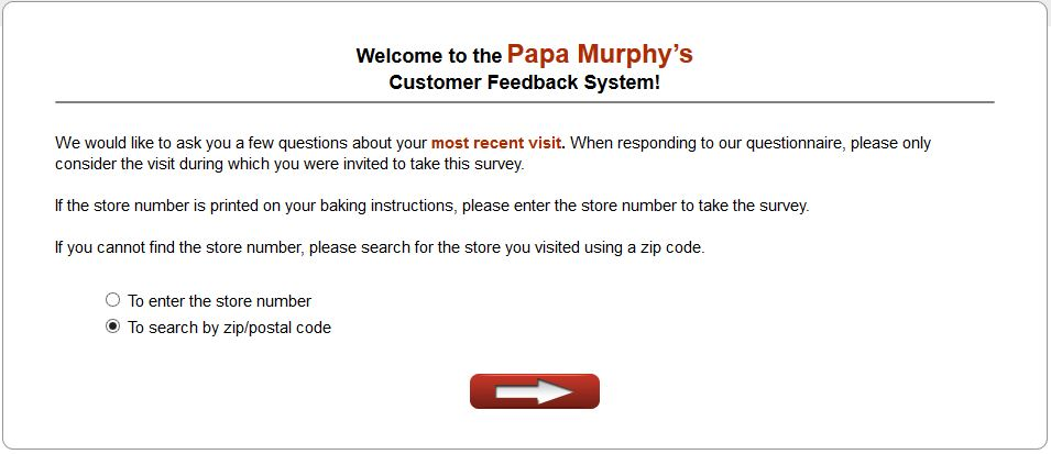 screenshot of papasurvey customer survey page