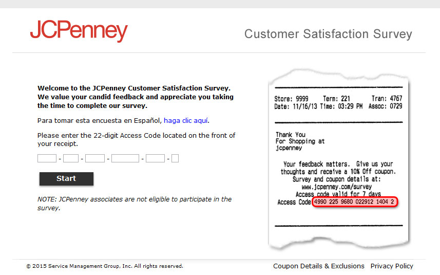 JCPenney Survey page screen print
