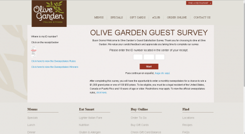The Olive Garden Survey Login Page