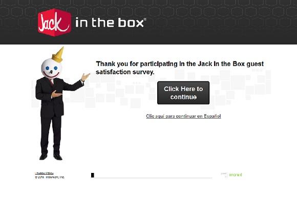 Jack in the Box survey print screen