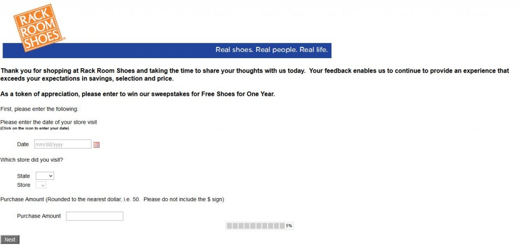 Rack Room Survey page