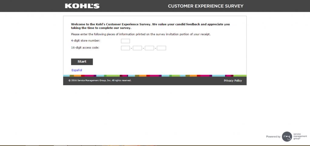 Kohls Customer Survey Page screen capture