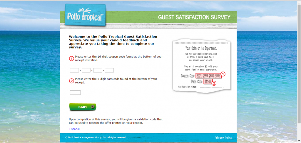 Pollo Tropical Survey Page