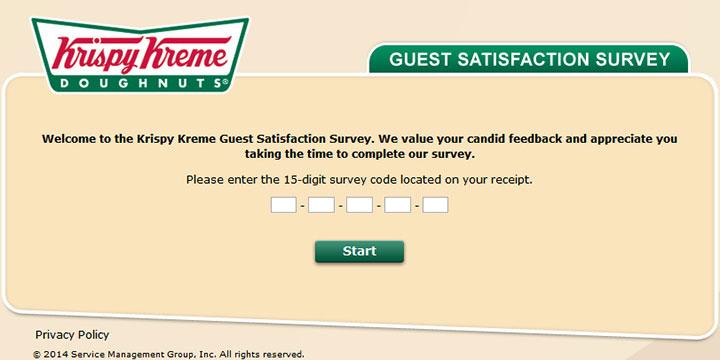 Krispy Kreme survey page