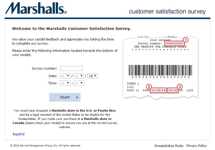 Marshalls Feedback Survey Page