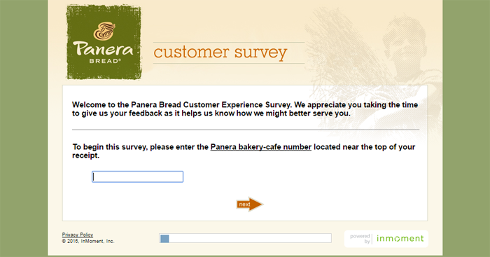 Panera Bread Survey Page