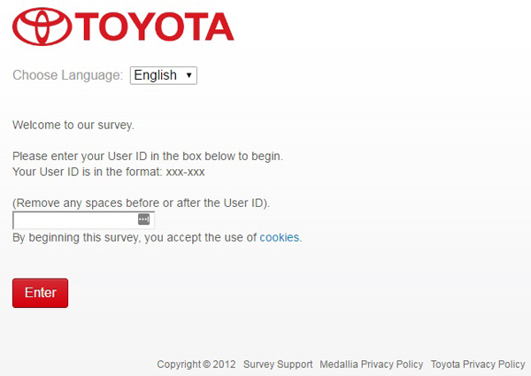Toyota Survey Completion Guide