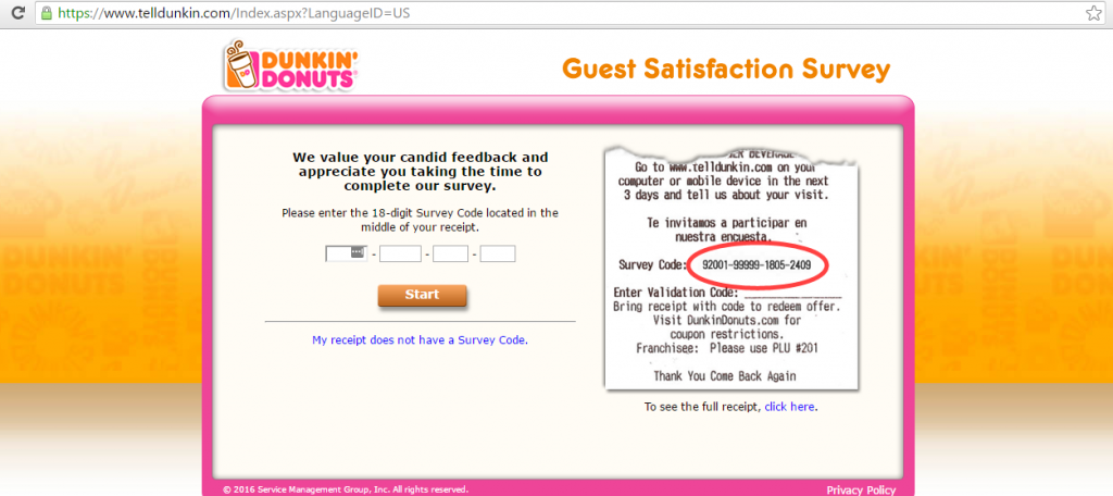 TellDunkin Dunkin Donuts survey start