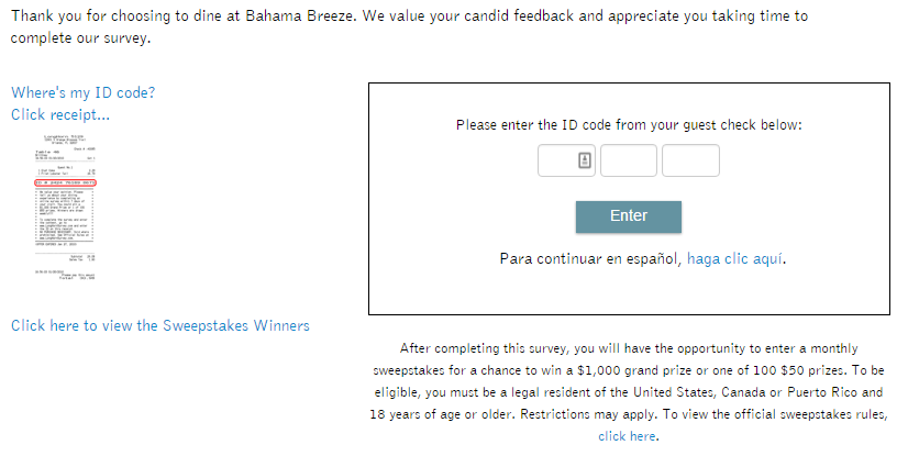 Bahama Breeze survey first page