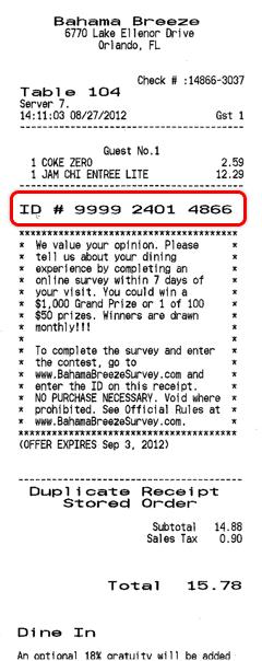 Bahama Breeze survey receipt