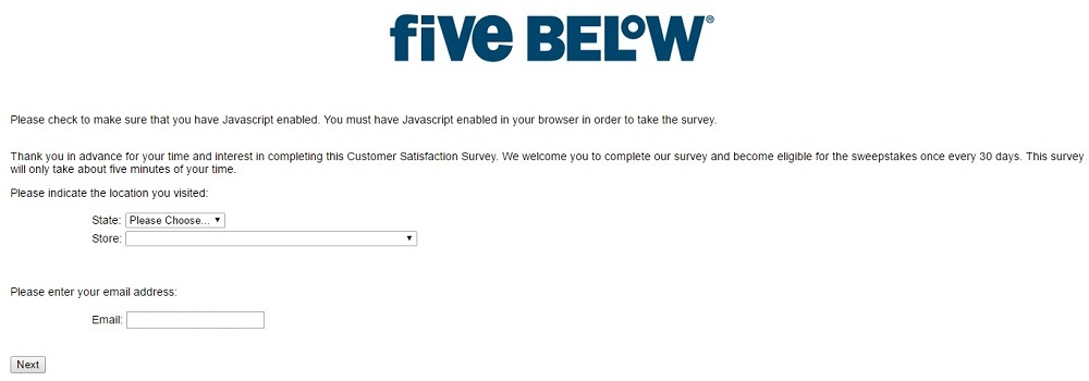 Five Below survey step 1