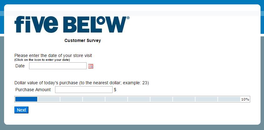 Five Below survey step 2