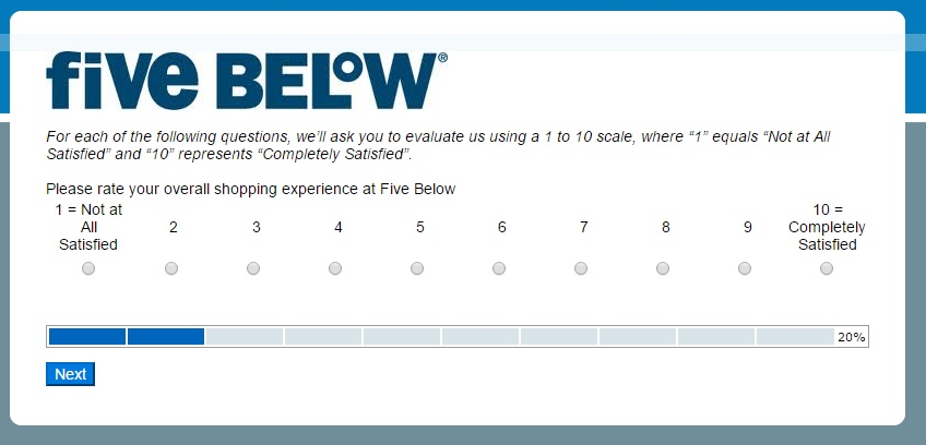 Five Below survey step 3