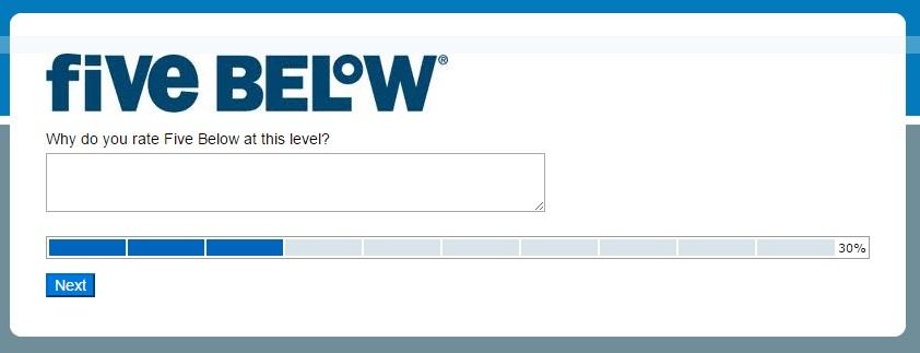Five Below survey step 4