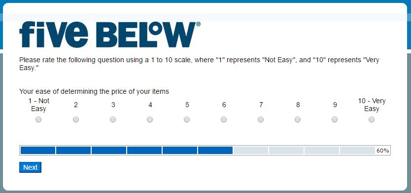 Five Below survey step 6