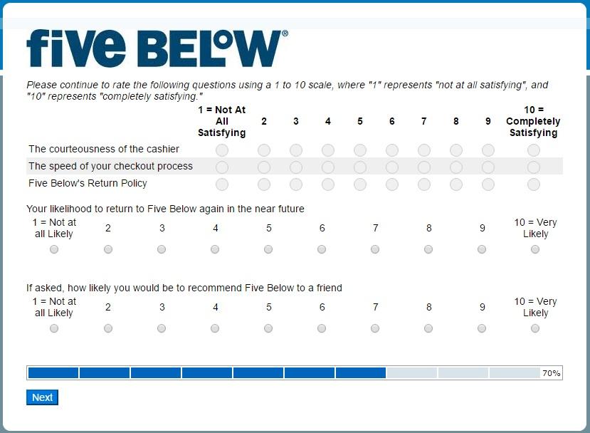 Five Below survey step 7