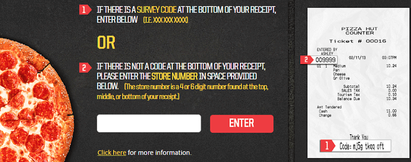 Pizza Hut Survey Page
