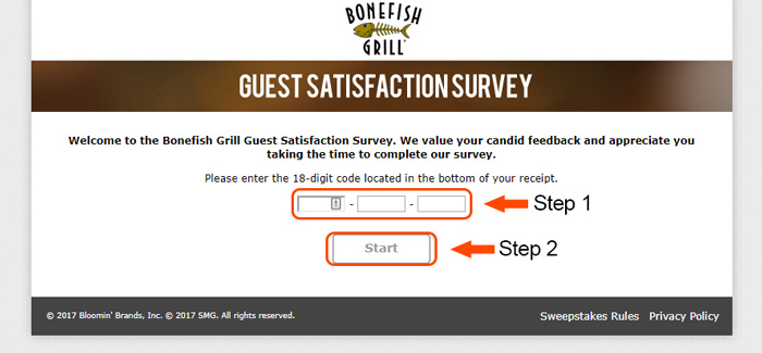 first page of bonefish grill survey