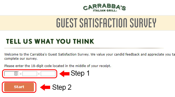carrabbas survey receipt code