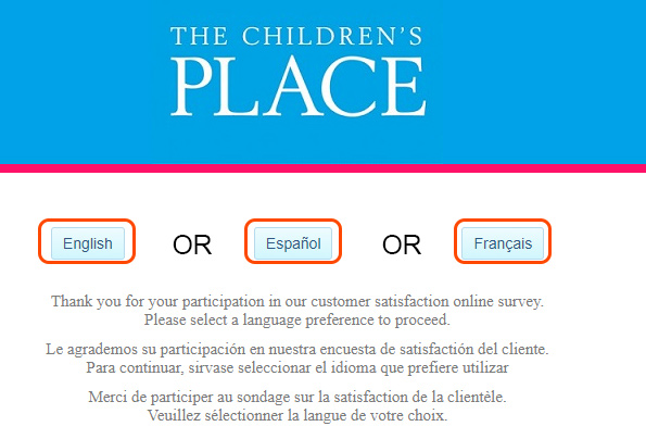 screenshot of the childrens place survey