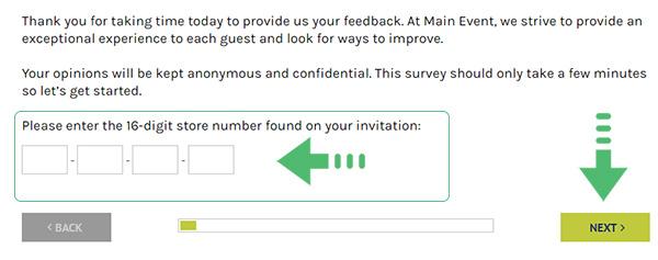 Main Event survey page